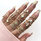 Aukmla Boho Knuckle Rings Set Anelli Knuckle Joint Oro Crystal Midi Size Stackable Finger Rings Accessori manuali per donne e