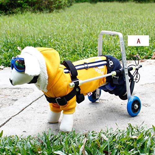Ultraleichter Kleiner Hunderollstuhl - Behinderten-Teddy Bomei Chihuan Schnauzer Hindlimb Zusätzlicher Haustier-Rollstuhl (Farbe : A)