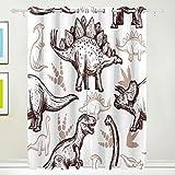 TIZORAX Zeichnen Dinosaurier Fußabdrücke Vorhänge Verdunkeln zur Wärmedämmung Fenster Panel Drapes für Home Dekoration 213,4x 139,7cm Set von 2Panels