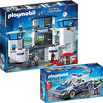 PLAYMOBIL® City Action Set en 2 parties 6872 6873 Police central de commandement avec prison + Voiture de Police