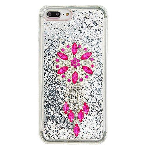 """Flüssiges Case Ultra Thin Dünn TPU Silikon Schutzhülle für iPhone 7 plus 5.5"""" 3D Kreative Liquid Handyhülle Durchsichtig Rückseite Tasche Glitter Shiny Kristall Klar Handytasche Sparkle Dynamisch Trei E08"""