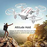 YouCute X01H Mini Foldable RC Drone with Altitude Hold Headless Mode 3D Flip for Kids Gift Protable Pocket 2.4GHz Nano Quadcopter Easy to Fly for Beginners Kids and Adults (White without camera)