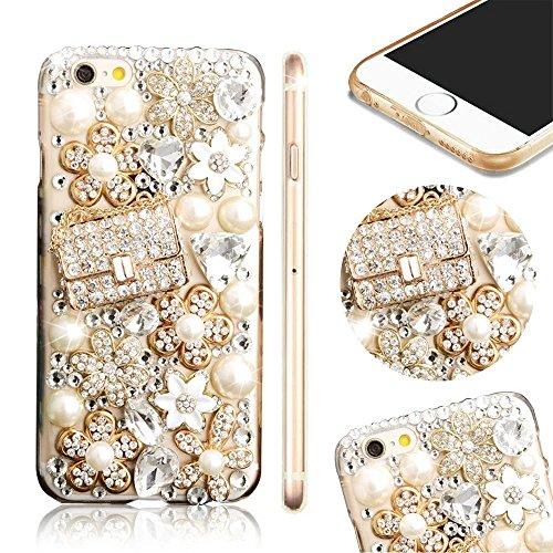 Bling Bling iPhone 6S Hülle, MOMDAD Diamant Glitzer Glänzend Handmade Schutzhülle für iPhone 6S 6 Handyhülle Transparent PC Hart [Blume Parfüm Perfume Eiffelturm Eiffel Tower] Case Cover Luxus Crystal Diamond # 5