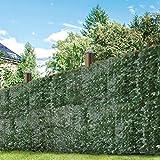 GardenKraft 26120 Gartenzaun, künstlich, Dunkles Efeublatt, Weide, Sichtschutz, Hecke, Landschaftsbau, Garten, 3 m x 1 m