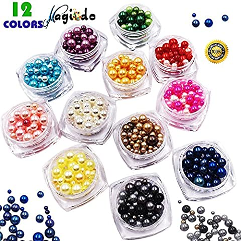 Magicdo12 Nail Decoration Beads Kit,Faux Pearls Cabochons for Crafts,3D Glow Nail Art Decorations Beads,Mixed Sizes Faux Crystal Pearls,Mixed Sizes Faux Crystal Pearls,Multicolor of Round Pearl