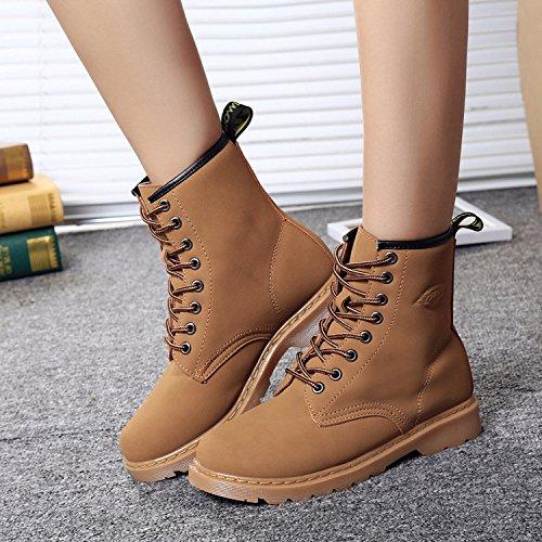 &zhou donna autunno/inverno stivali stivali di cuoio piatto caldo Martin marea avvio fashion retrò per il tempo libero light brown