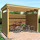 ghs Unterstand 3x2,5 m Überdachung mit Seitlicher Verkleidung Fahrrad + Motorrad, Gartengeräte + Gartenmöbel