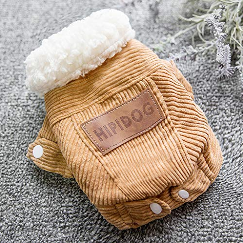ABLJ clothes for pets Pet Kleidung Plüsch Dicke warme Baumwollmantel Welpen Hund Kleidung weiblichen kleinen Hund Teddybär Haustier Katze Herbst und Winter tragen-S