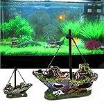 FENICAL Resin Fishing Boat Aquarium Ornament for Fish Tank Accessories 6