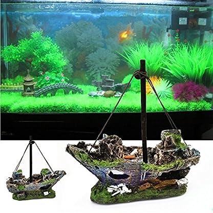 FENICAL Resin Fishing Boat Aquarium Ornament for Fish Tank Accessories 2