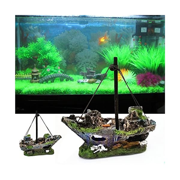 FENICAL Resin Fishing Boat Aquarium Ornament for Fish Tank Accessories