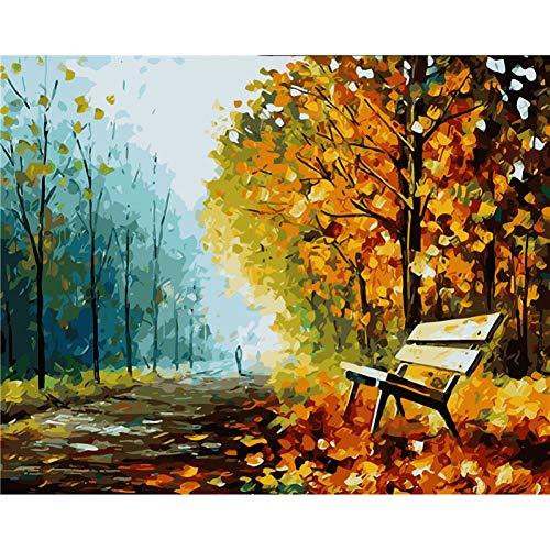 ERQINGSZH Digitales Malen Bank Im Park Herbst Blatt Landschaft Digital DIY Ölgemälde Von Nummer Wand Dekor Färbung Von Zahlen Bilder Room Decor