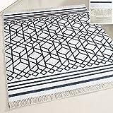 mynes Home Teppich Läufer waschbar schwarz Weiss Modern Designer Design Boheme Boho Stil rutschhemmend geeignet für Küche/Bad / Wohnzimmer/Flur (160cm x 230cm)
