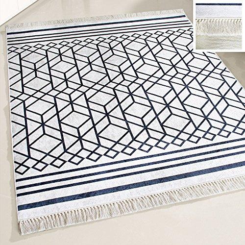mynes Home Teppich Läufer waschbar schwarz Weiss Modern Designer Design Boheme Boho Stil rutschhemmend geeignet für Küche/Bad/Wohnzimmer/Flur (120cm x 170cm)