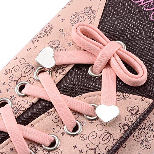 Leiwo Damen Elegant Süß Leder Geldbörse Damen Blumen Schnürsenkel Schuhband Portemonnaie Geldbeutel Rosa - 2