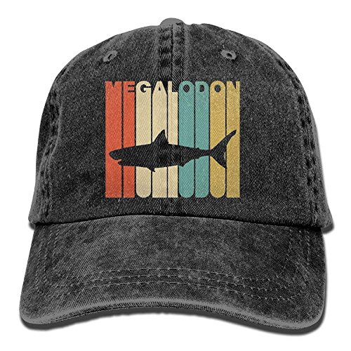 guolinadeou Men's Or Women's Vintage Style Megalodon Silhouette Denim Jeanet Baseball Hat Adjustable Dad Hat