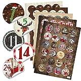 5 x 24 verschieden Adventskalender Zahlen Aufkleben - für 5 Weihnachtskalender - runde Zahlenaufkleber 4 cm rot braun grün schwarz weiß Kalender selbermachen
