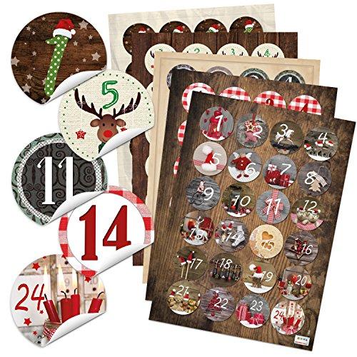 Lot de 5 x 24 chiffres autocollants pour calendrier de l'avent - Pour 5 calendriers de Noël - Autocollants ronds - 4 cm - Rouge, marron, vert, noir et blanc
