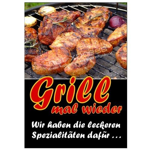 Plakat für die Grillsaison Grill mal Wieder DIN A1, Werbeplakat Poster Metzgerei (Grill Xpress)