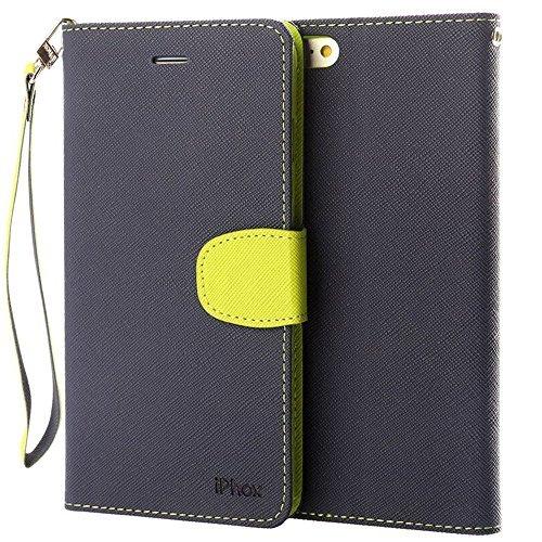 Cover iphone 6 / 6s, iphox flip custodia caso libro pelle pu e tpu silicone con funzione supporto chiusura magnetica portafoglio libretto custodia per apple iphone 6 / 6s(blue & green)