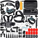 Leknes 52 in 1 Kit Accessori Bundle per GoPro Hero 5 4 3+ 3 2 1 SJCAM SJ4000 SJ5000 SJ6000 Lightdow/Xiaomi Yi/WiMiUS/DBPOWER /Action Camera APEMAN/Action Camera Campark, Grande Custodia antiurto + cinghia della cassa Strap Mount + manico allungabile+ Monopiede con Phone Holder + Floating maniglia Grip +Mount Belt Head + Car ventosa + superficiale fibbia a sgancio rapido +Anti-fog Insert etc
