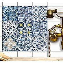 Piastrelle decorative adesive | Design adesivi-autoadesivi piastrelle cucina - adesivo-bagno rinnovare bagno cucina interni | 10x10 cm - Design Classica - Set 9 pezzi