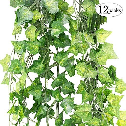SPECOOL Hojas Guirnalda Plantas Artificiales, 12 Paquetes de Plantas Artificiales Colgantes Falso...