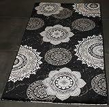 Lalee 347170449 Designer Teppich/Muster : Kreise/Schwarz Silber/3D Konturen/Glitzer/Edel/Grösse: 80 x 150 cm