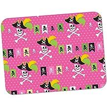 Manie Pirate avec trésor & perroquet de haute qualité épais en caoutchouc tapis de souris surface souple et confortable Pinke Piratenflagge & Totenköpfe