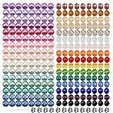 TOAOB 3420 Stück 4mm Glasperlen runde mischfarbige Perlen Strasssteinen Spacer Perlen und Kristall Facettierte Glas Perlen Set für DIY Schmuck Halskette Armband Basteln