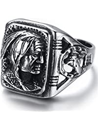 K Mega Jewelry Mens Stainless Steel Ring, Biker, Silver, Black, Indian, KR2222