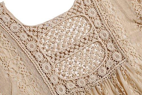 Cooshional Damen Spitzen Blumen Netz Shirt Flügelärmel Sommer Tops