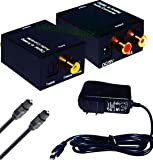Famous Quality IT® Metal Body Digital to Analogue L/R Stereo Audio Converter with AC Power Cable (Black)
