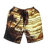 OSYARD Herren Tragen Sie 3D Print Beach Pants Hosen Große Größe Kreative Schwimmen Hosen(3XL, Kaffee)