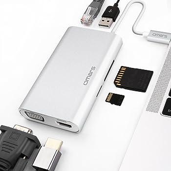 Omars USB C Hub (8 in 1) HDMI 4K, VGA, Gigabit RJ45 Ethernet Porta, Micro SD & SD Lettore di Schede, 2 Porte USB 3.0, Adattatore con Power Delivery per Huawei MateBook, MacBook PRO 2017/2016, S8 ECC