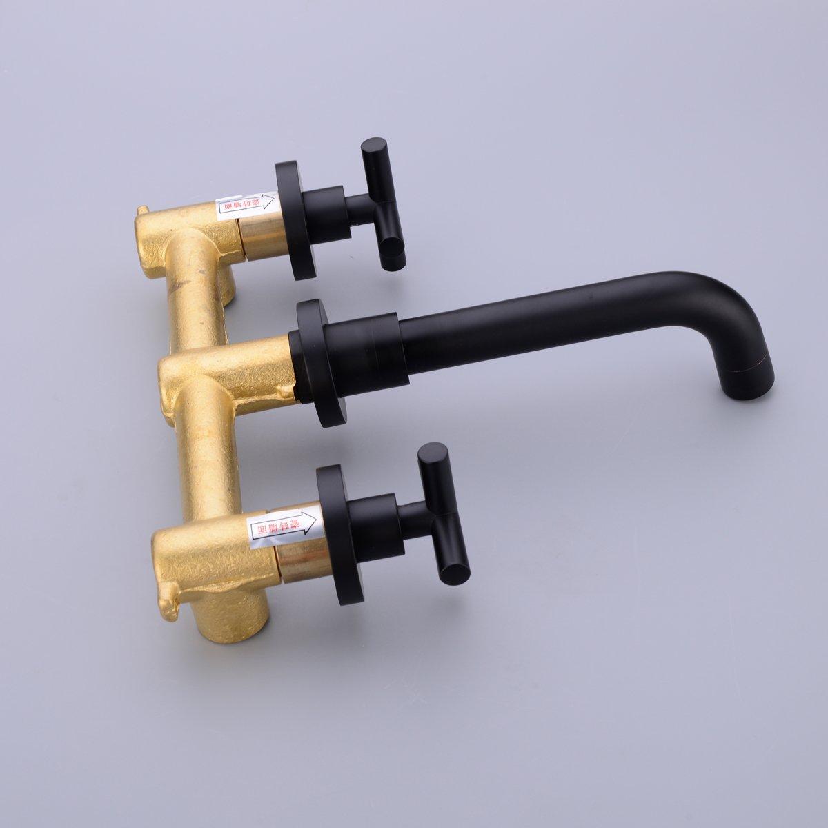 grifos de lavabo con disipador caliente y fr/ío empotrados de 2 manijas montados en la pared TRUSTMI Grifo para lavabo de lat/ón negro mate