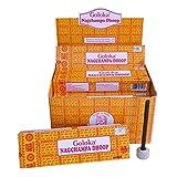 Dhoop Sticks Goloka Nagchampa 120 Räuchersticks 12 Schachteln mit Halter Nag Champa Duft Wohnaccessoire Raumduft Aroma