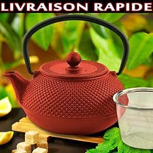 Théière en fonte rouge avec infuseur de thé