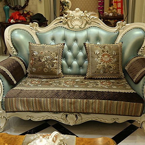 GJPPP Sofa-Kissen Europäischer Stil Echtes Leder Sofa-Kissen Einfache Anti-Schleudern Sofa Sitzkissen Klassischen American Style Velvet Sofa-Kissen-A 85x150cm(33x59inch) - Stil-leder-sofa