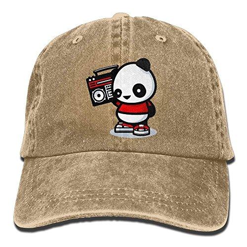 PhqonGoodThing Teens Unisex Panda Listening to The Radio Cowboy Summer Sun Baseball Cap Fitted Travel Radio-cap-baseball-cap