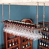 Applicazione di decorazione per pareti Portabottiglie in metallo appeso, portapiatti e porta calici in vetro di vino europeo Rack di calici (Colore : Bronzo, dimensioni : 60 * 30cm)