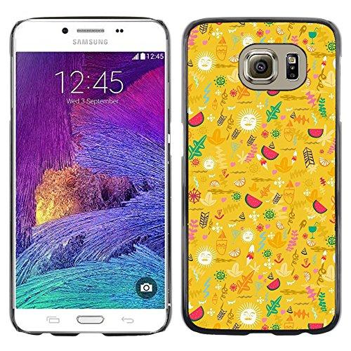DEMAND-GO ( Nicht für S6 EDGE ) Handy Durabel Hart Schutz Hülle Einzig Bild Schale Cover Etui Case Für Samsung Galaxy S6 SM-G920 - gelb glücklich optimistisch Muster
