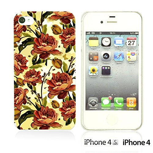 OBiDi - Flower Pattern Hardback Case / Housse pour Apple iPhone 4S / Apple iPhone 4 - Green and Red Rose Orange Roses
