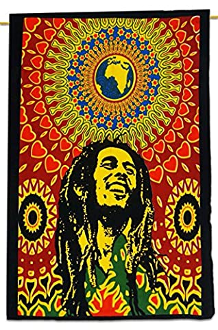 Bob Marley Cotton Indian Wandbehang Tapisserie Poster Multicolor Werfen 42x30 Inches