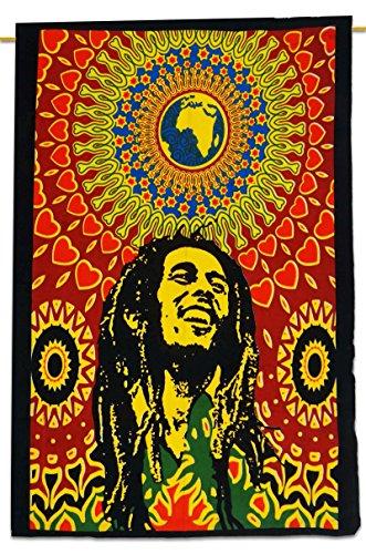 Bob Marley Cotton Indian Wandbehang Tapisserie Poster Multicolor Werfen 42x30 - Runde Rod Druck-vorhang