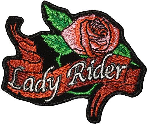 Papapatch Damen Reiter Pink Rose Blume Biker Motorrad weiblich Choppers Jacke Kostüm Schild Aufnähen Aufnäher Bügelbild Bügelbild Iron Lady Rider Rose (Weibliche Indische Kostüme)