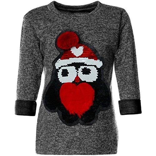 e Pailletten Pullover Pulli Bekleidung Langarm 21600, Farbe:Anthrazit, Größe:152 (Mütze Und Kleid Für Den Kindergarten)
