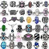 Sexy paillettes femmes perles 30de mélange de couleurs assorties de charme et entretoises en verre, strass perle pour Charm serpent