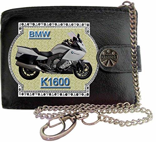 BMW K1600 Image sur portefeuille RFID pour hommes de marque KLASSEK vrai cuir avec chaîne Moto Bike cadeau d'accessoire avec boîte en métal produit BMW Non officiel