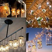Mason Jar Lámparas solares,Mesa de jardín de LED con energía solar Luces colgantes de la linterna,Lámparas para Patio Party Árbol Christmas Holiday Decoraciones de boda,Para el uso al aire libre durante todo el año(1Pcs, blanco caliente)
